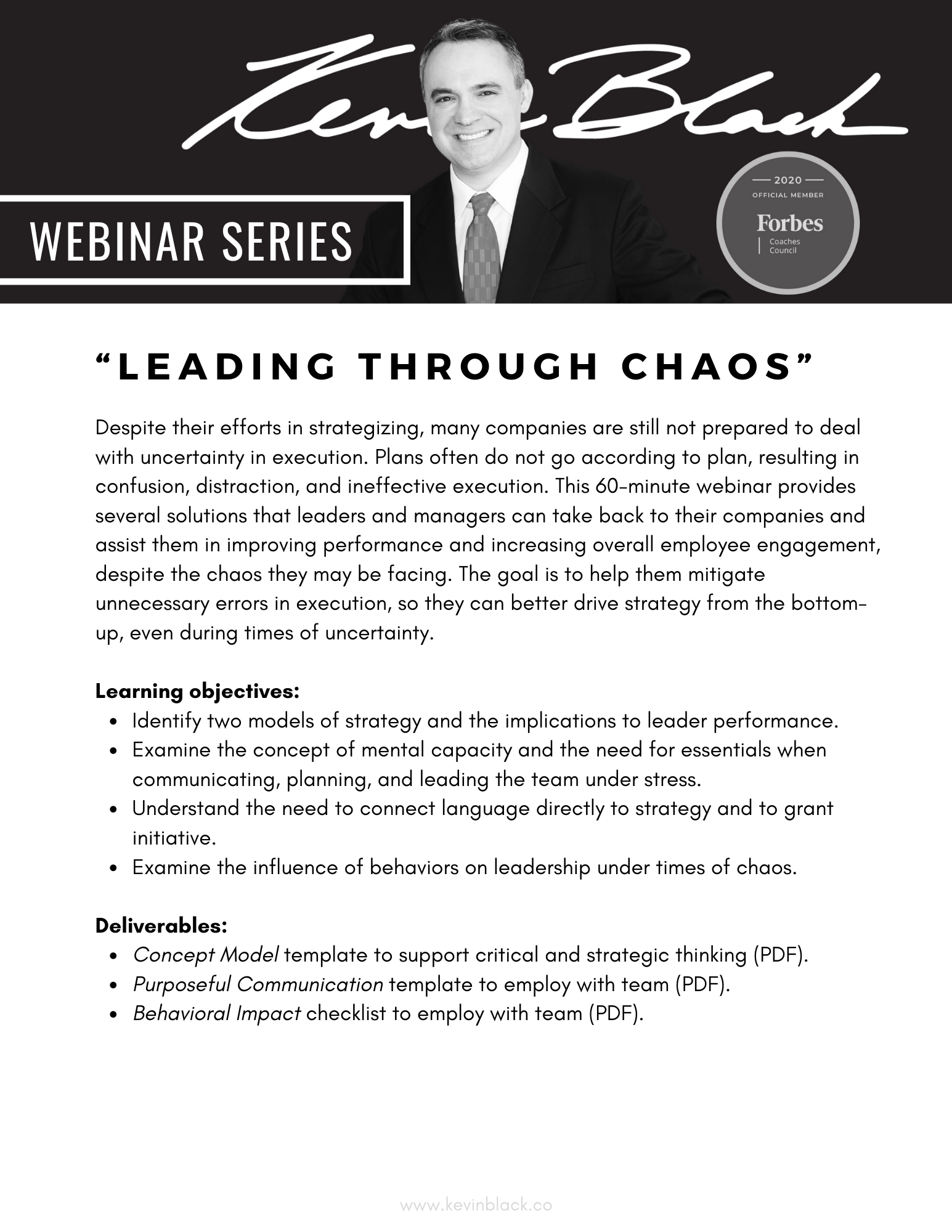 Webinar Series - Leading through Chaos - Kevin Black Forbes Coach